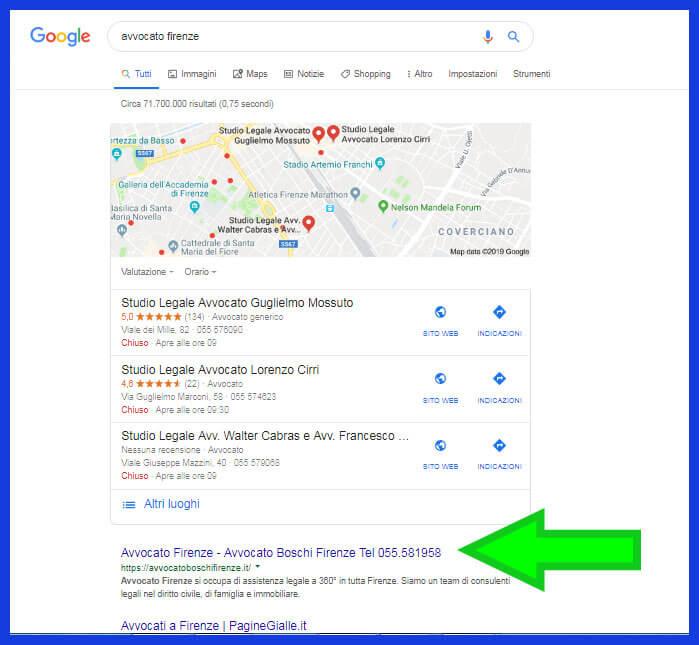 risultati organici di Google