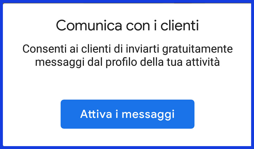screenshot attivazione messaggi