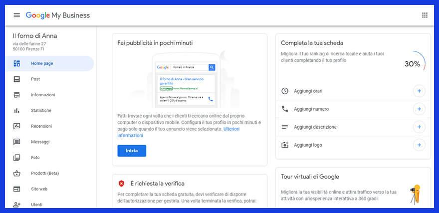 scheda nuova Google My Business