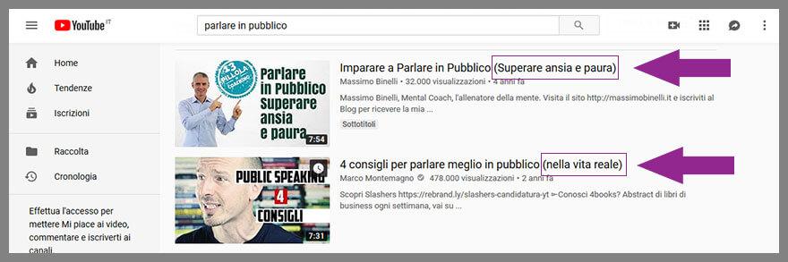 screenshot di titoli che contengono parentesi