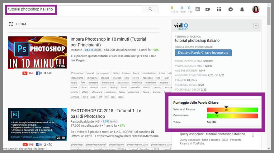 """punteggio della parola chiave """"tutorial Photoshop italiano"""" assegnato da vidIQ"""